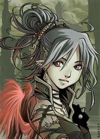 Anime girl grey hair