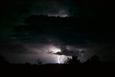 July 2004, New Mexico --- Lighting in a Black Sky --- Image by © DLILLC/Corbis