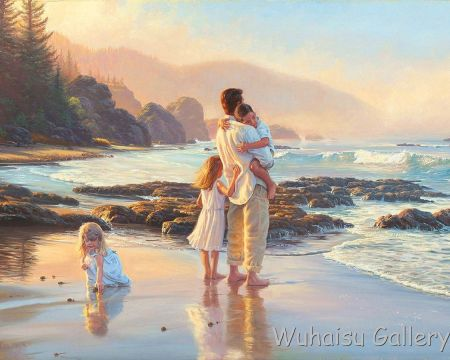 Beach_father_and_his_children_prints_oil_painting_on_c_002