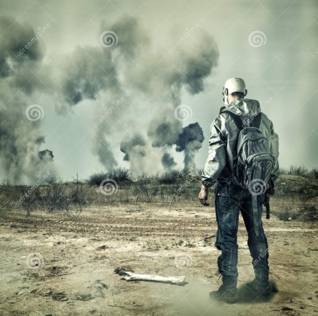 post-apocalypse-man-gas-mask-explosions-handgun-back-pack-apocalyptic-world-looking-horizon-33597352