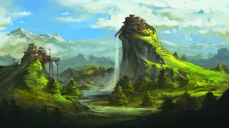 Art-Fantasy-Landscape-Hills-Fort-Mountains-Waterfalls-Buildings-Castle-High-Resolution-Images